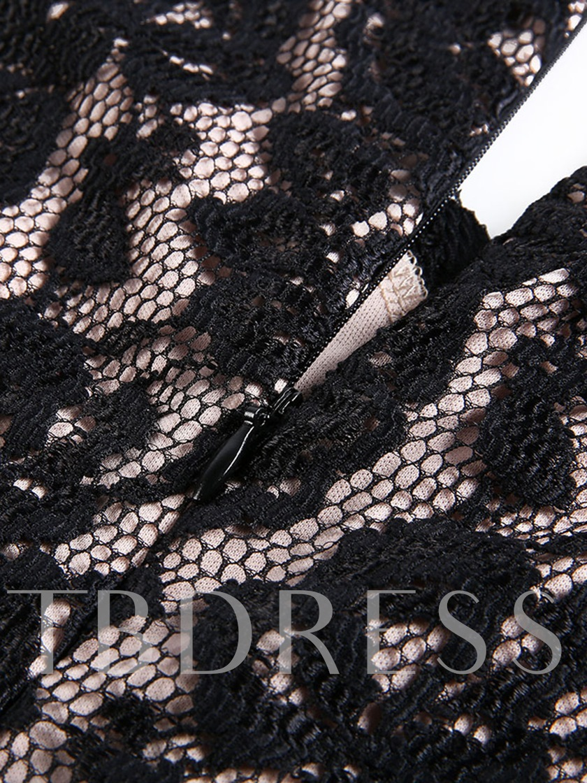 V Neck Black Lace Patchwork Women's Sheath Dress