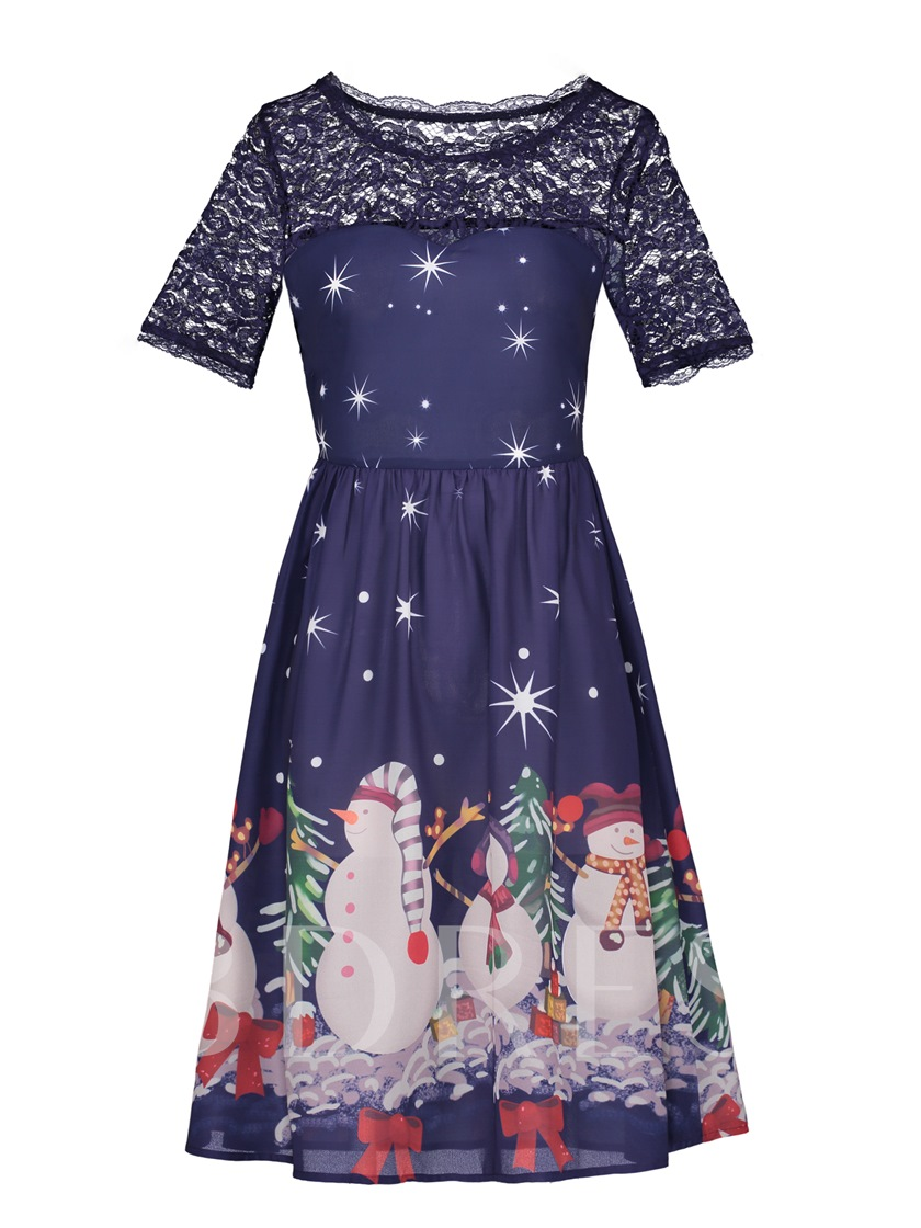 Blue Lace Patchwork Christmas Pattern Women's Day Dress