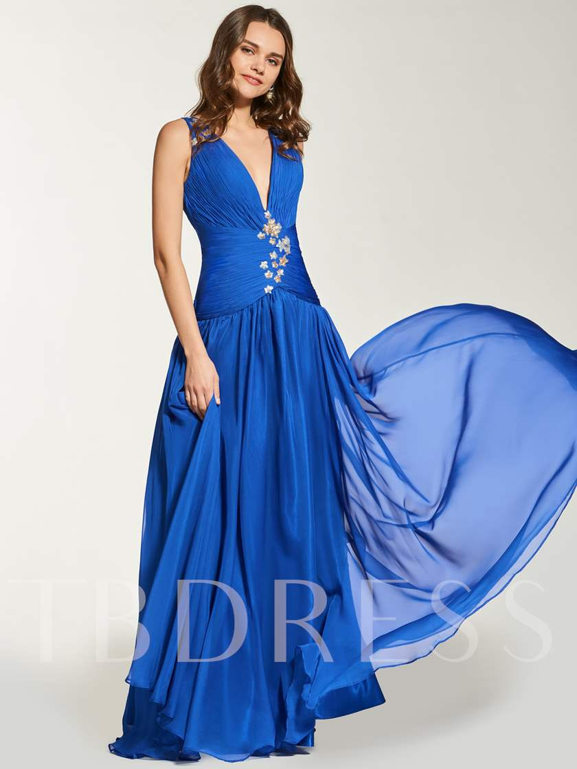 A-Line Beading Pleats Backless Floor-Length Prom Dress