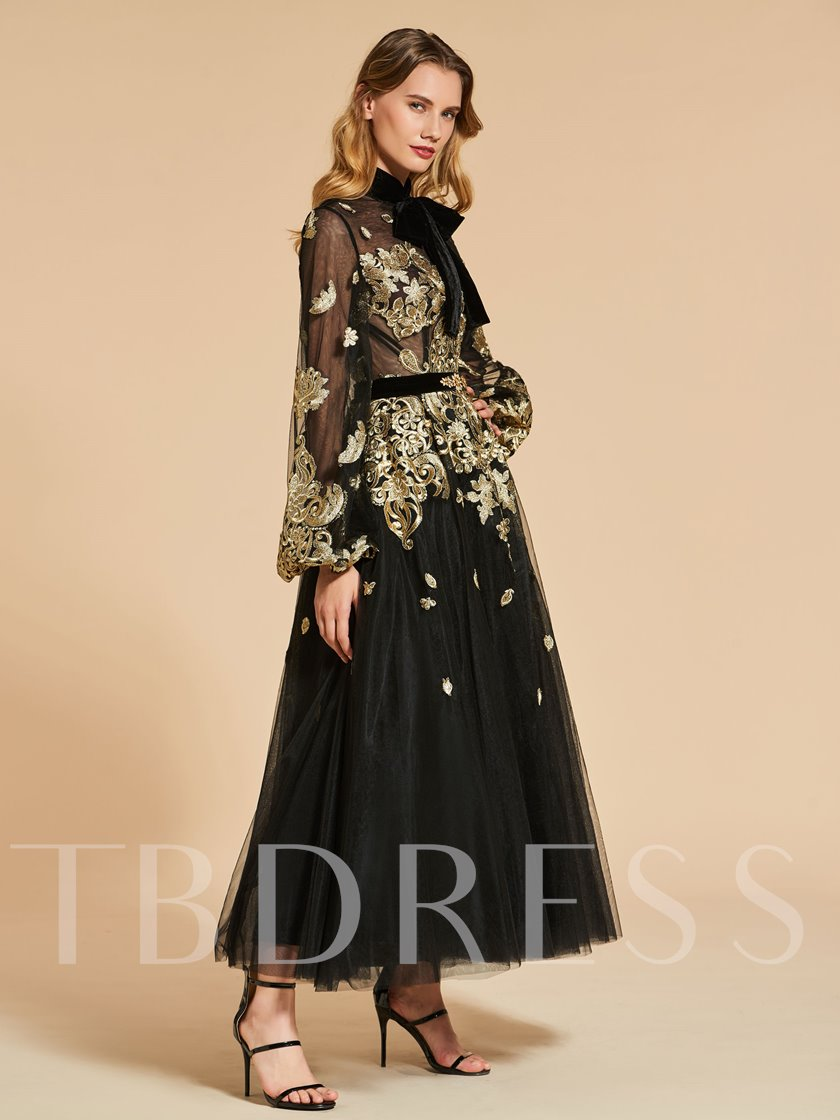Long Sleeves High Neck Lace Vintage Evening Dress