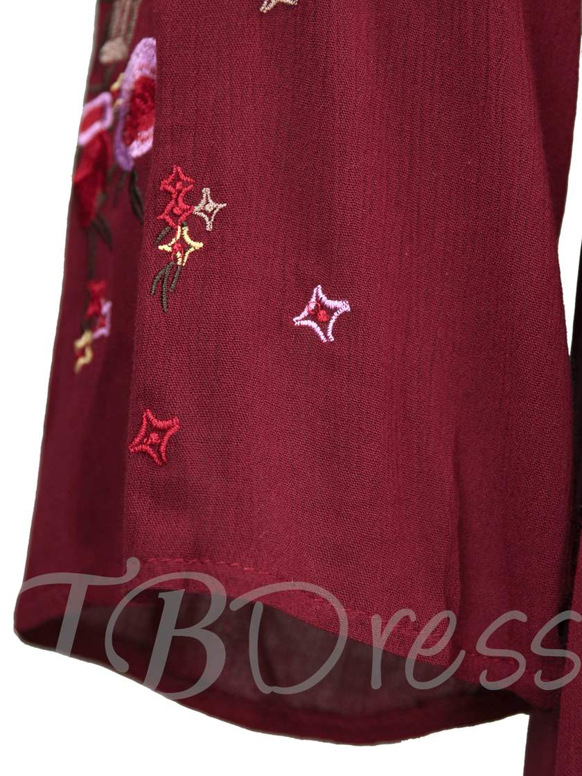 V-Neck Floral Embroideried Women's Asymmetrical Dress