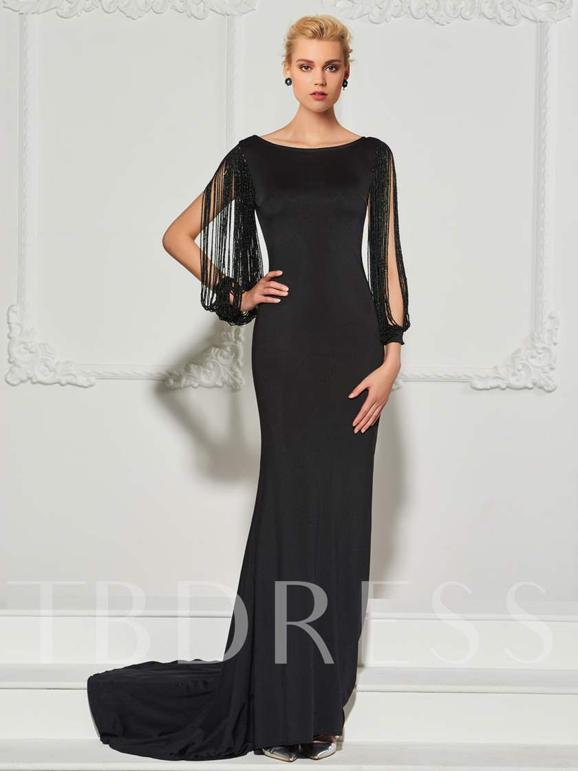 Bateau Neck Beading Tassel Mermaid Evening Dress