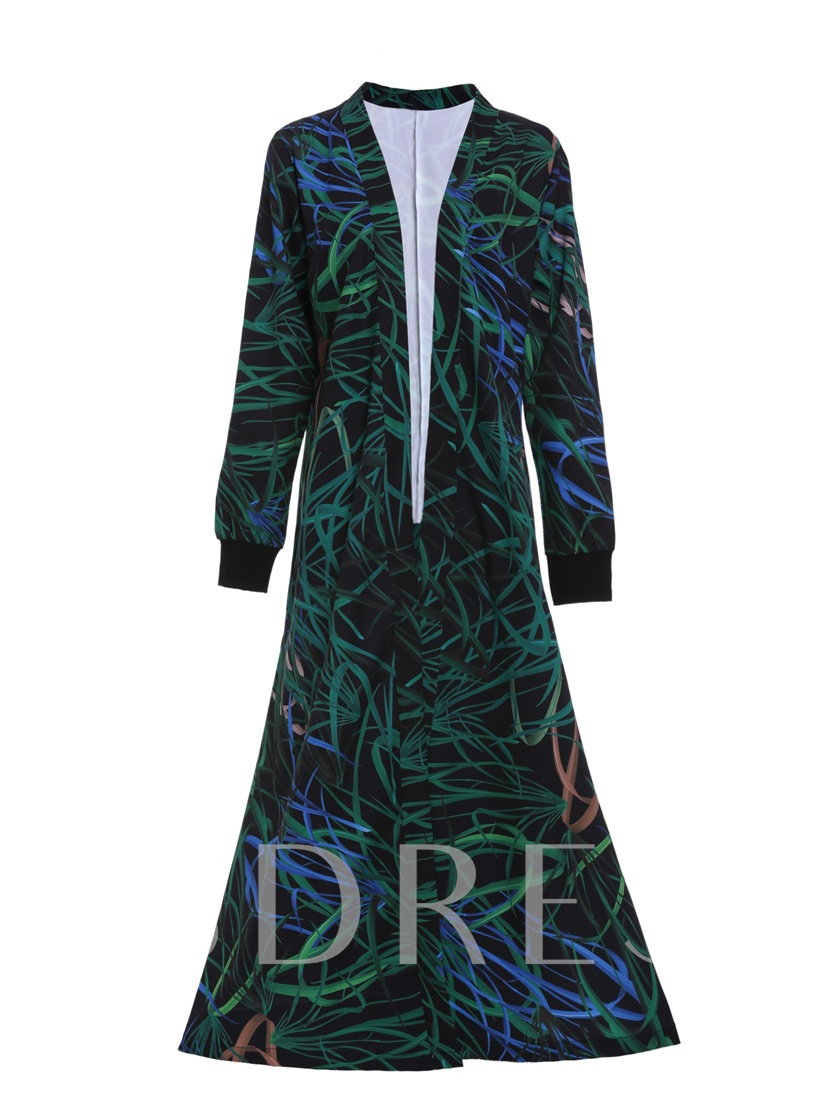 Long Shawl Collar Geometric Vacation Women's Trench Coat