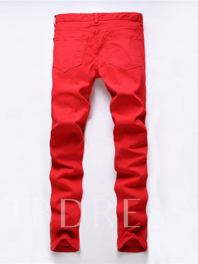 Red Hole Elastic Slim Men's Casual Jeans