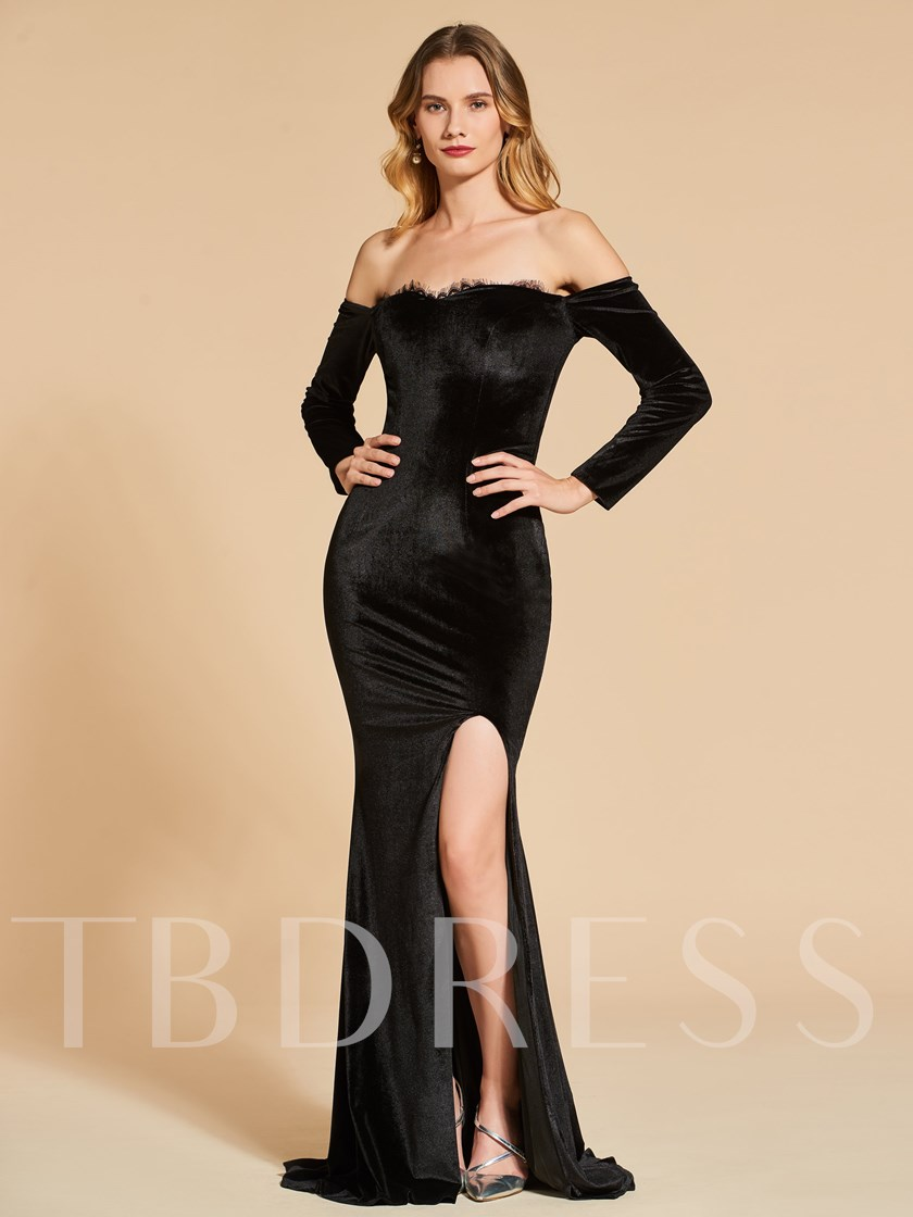 Off-the-Shoulder Split-Front Trumpet Evening Dress - Tbdress.com