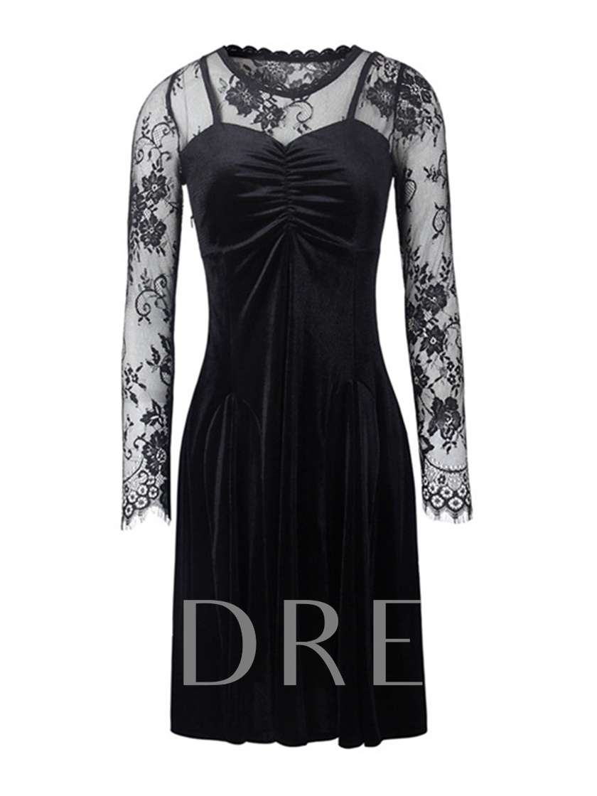 Black Velvet Patchwork Women's Sheath Dress