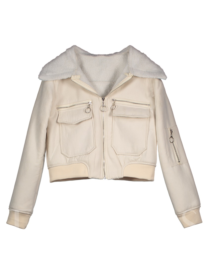 Wide-Lapel Thick Zipper Short Women's Jacket