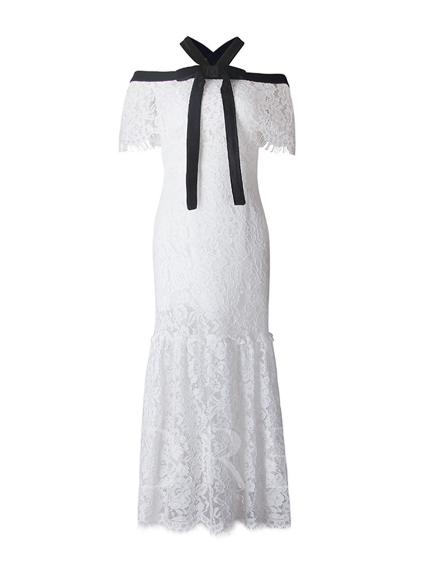 White Strappy Lace Women's Maxi Dress