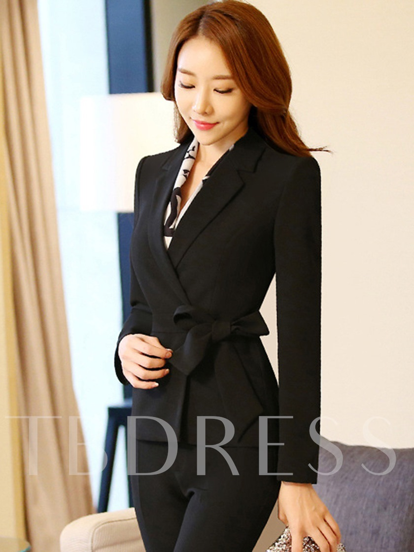 Plain Lace-Up Slim Fit Women's Blazer