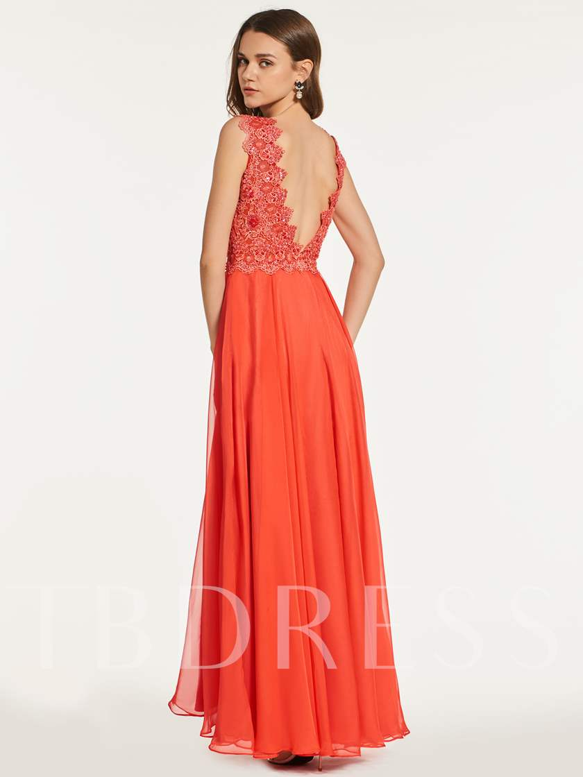 A-Line V-Neck Empire Lace Prom Dress