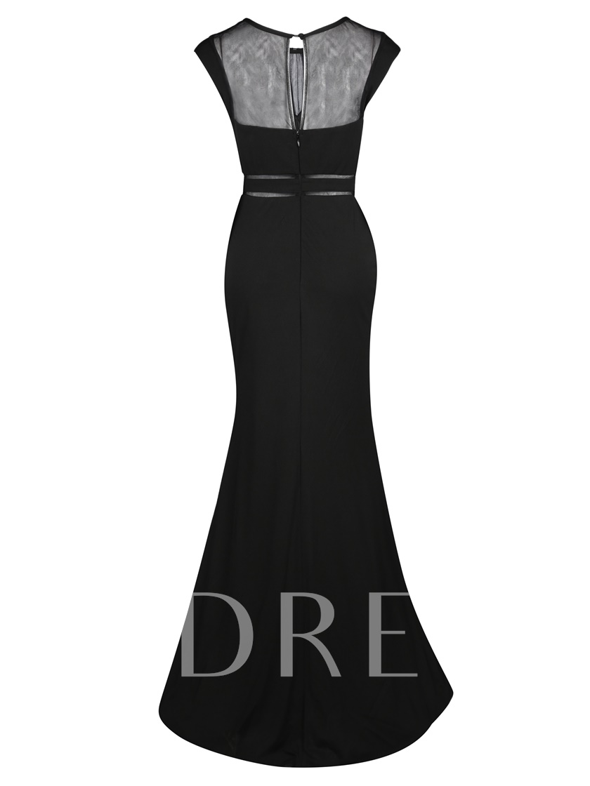 Scoop Neck Split-Front Sheath Evening Dress