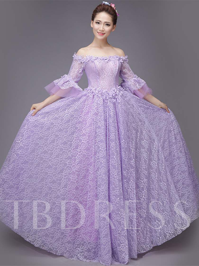 Appliques Embroidery Flowers Off-the-Shoulder Lace Quinceanera Dress