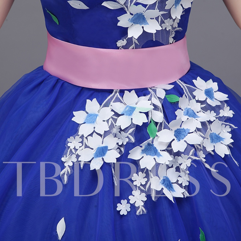One-Shoulder Appliques Sashes Floor-Length Quinceanera Dress