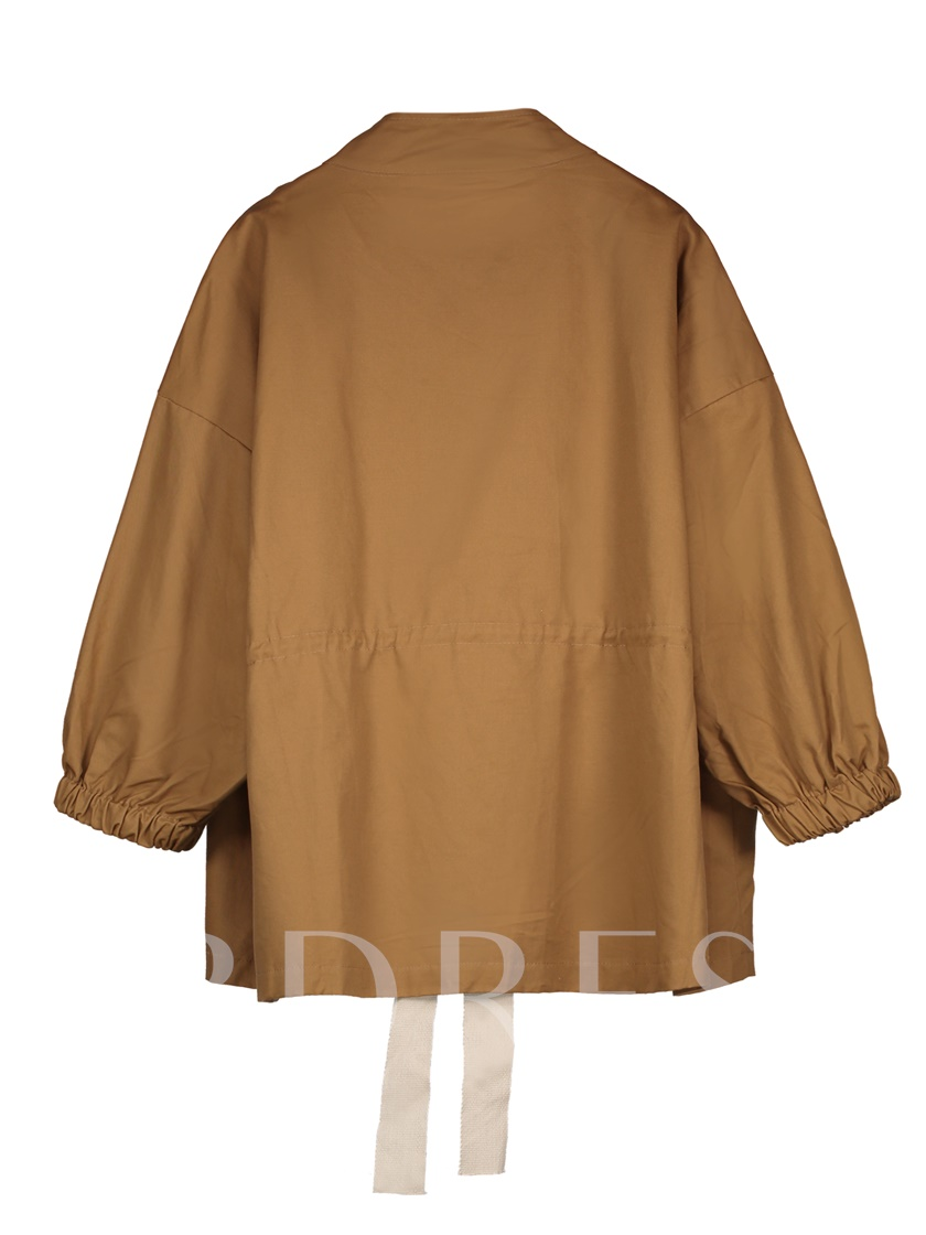 Stand Collar Batwing Sleeve Women's Trench Coat