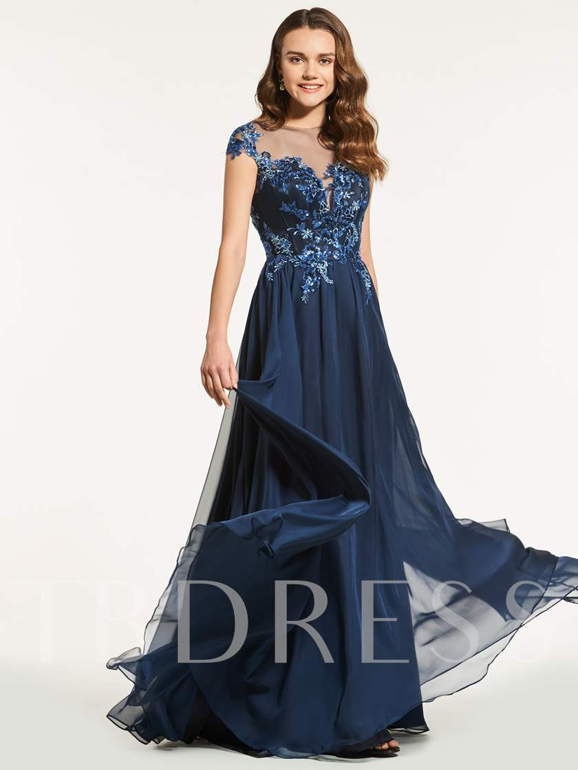 A-Line Cap Sleeves Appliques Beading Button Prom Dress