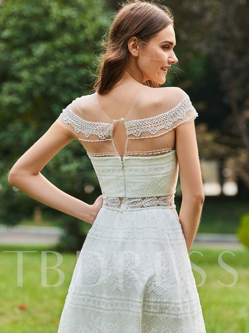 Short Sleeve Knee-Length Lace Bridesmaid Dress