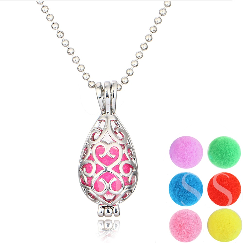 Aromatherapy Hollow Out Water Drop Essential Oil Diffuser Necklace