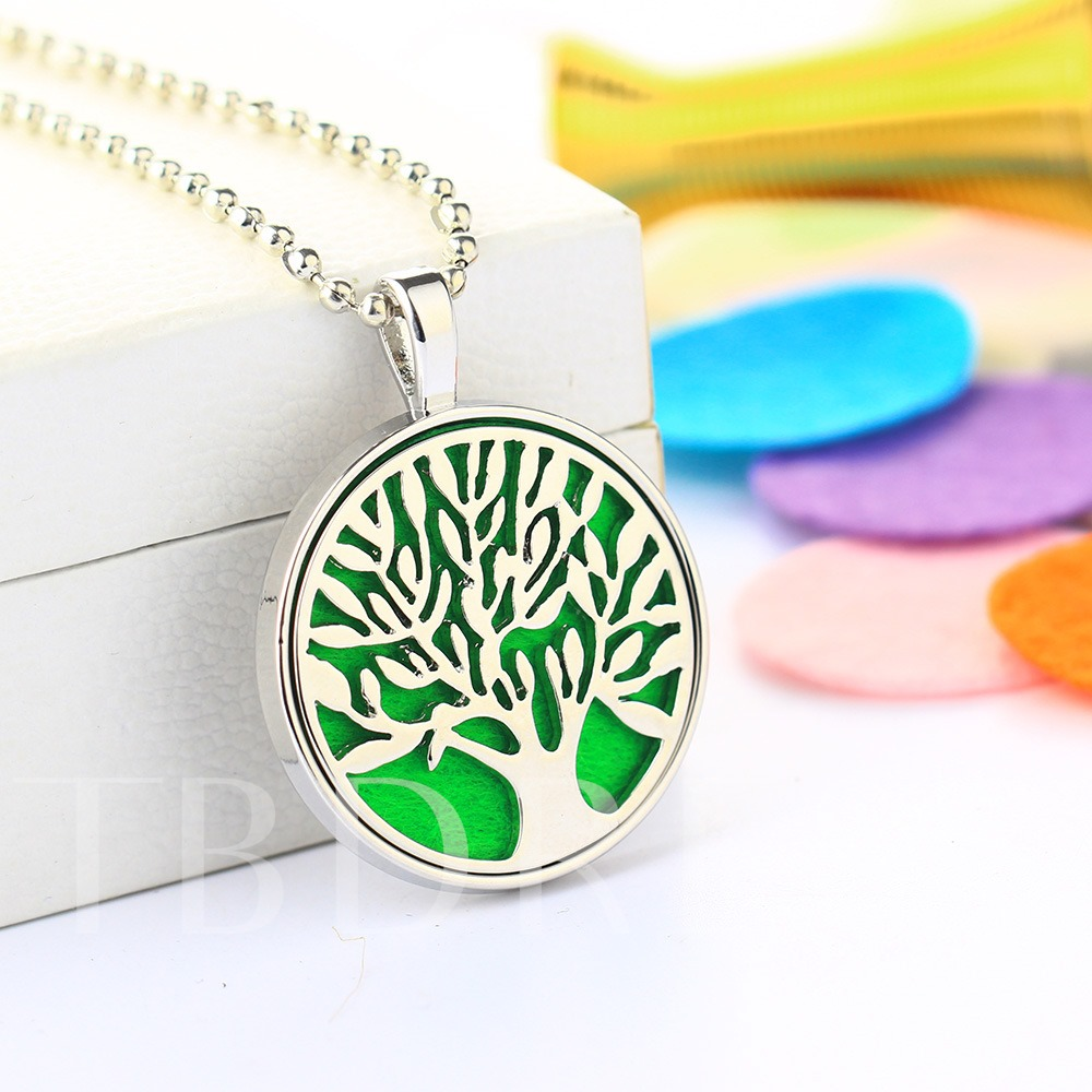 Cotton Cushion Essential Oil Diffuser Tree Design Necklace