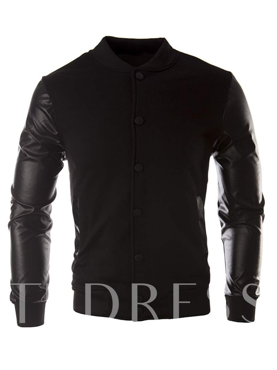Buy Stand Collar Patchwork PU Slim Men's Leisure Jacket, Spring,Fall, 13091620 for $21.99 in TBDress store