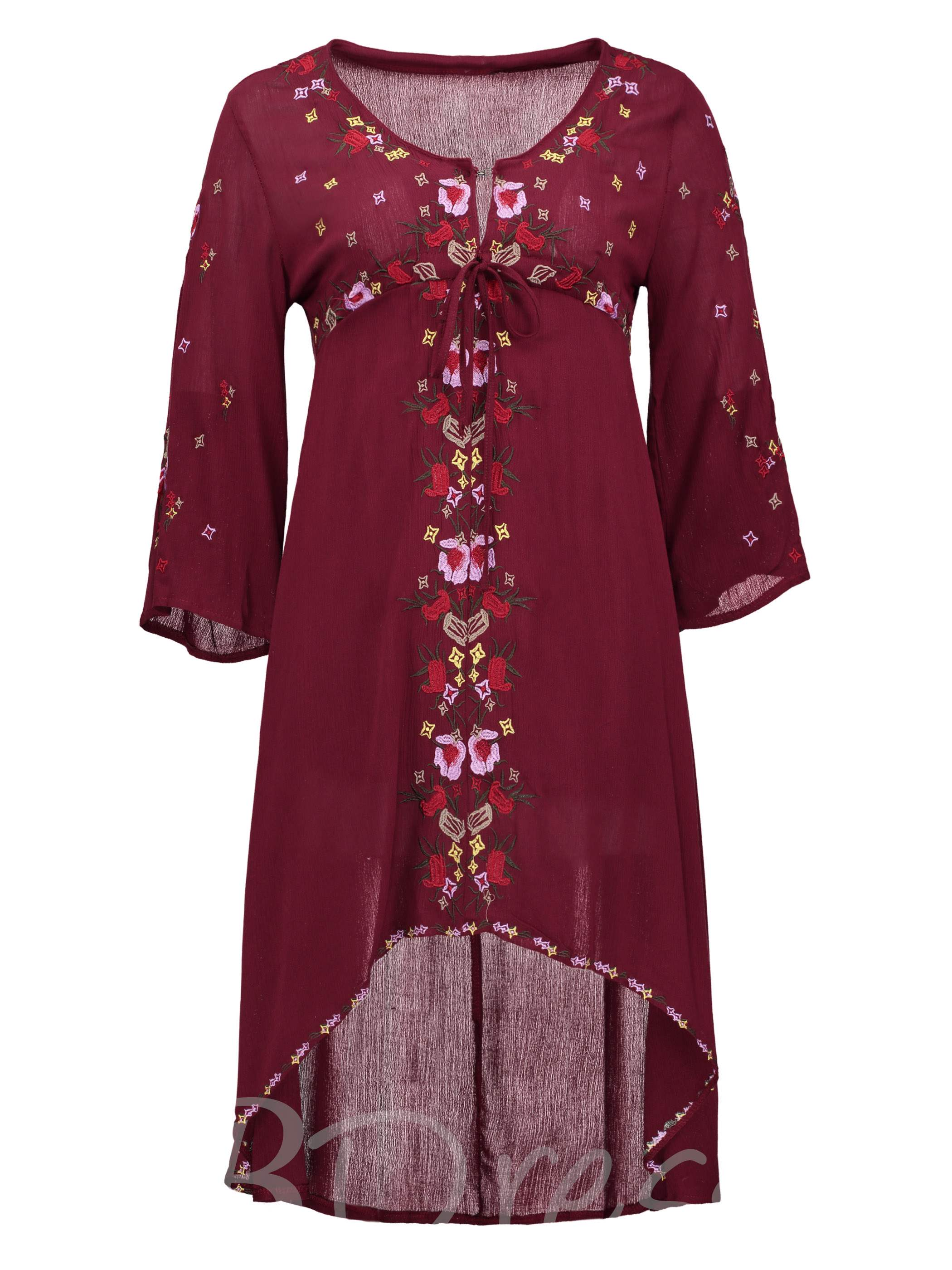 V-Neck Floral Embroideried Women's Asymmetrical Dress, Young17, 13099030