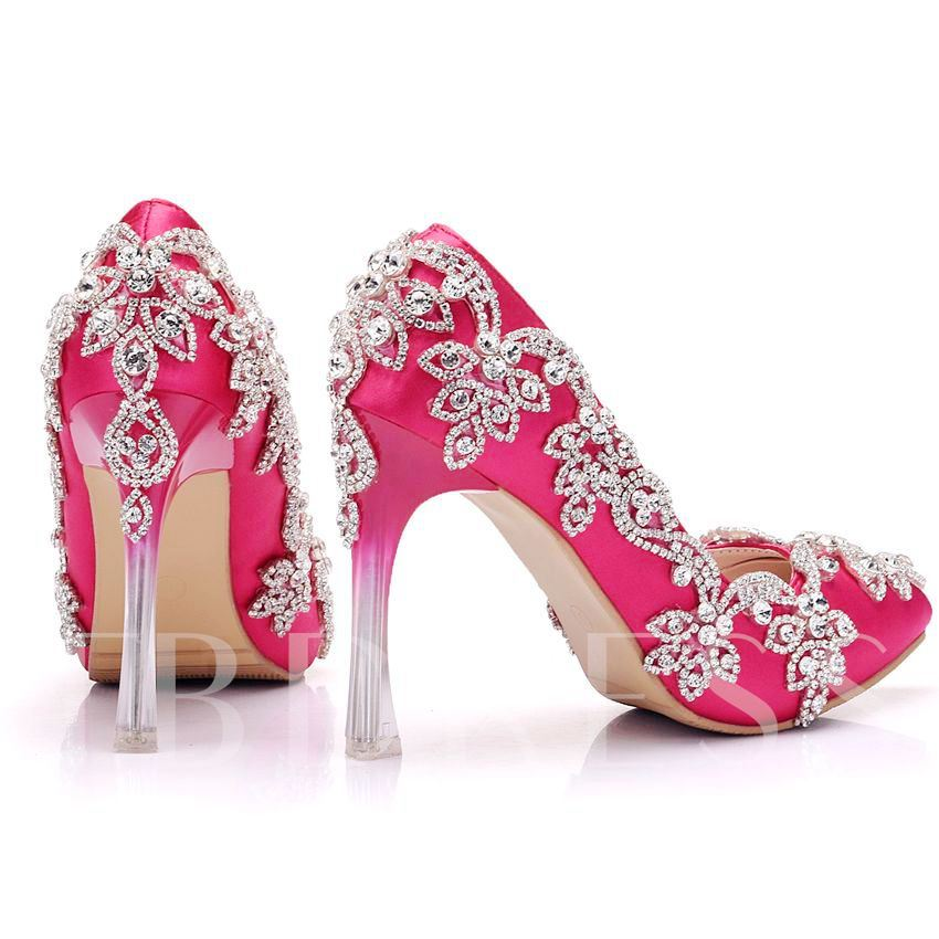 Rose High Heel Rhinestone Pumps Wedding Shoes for Bride