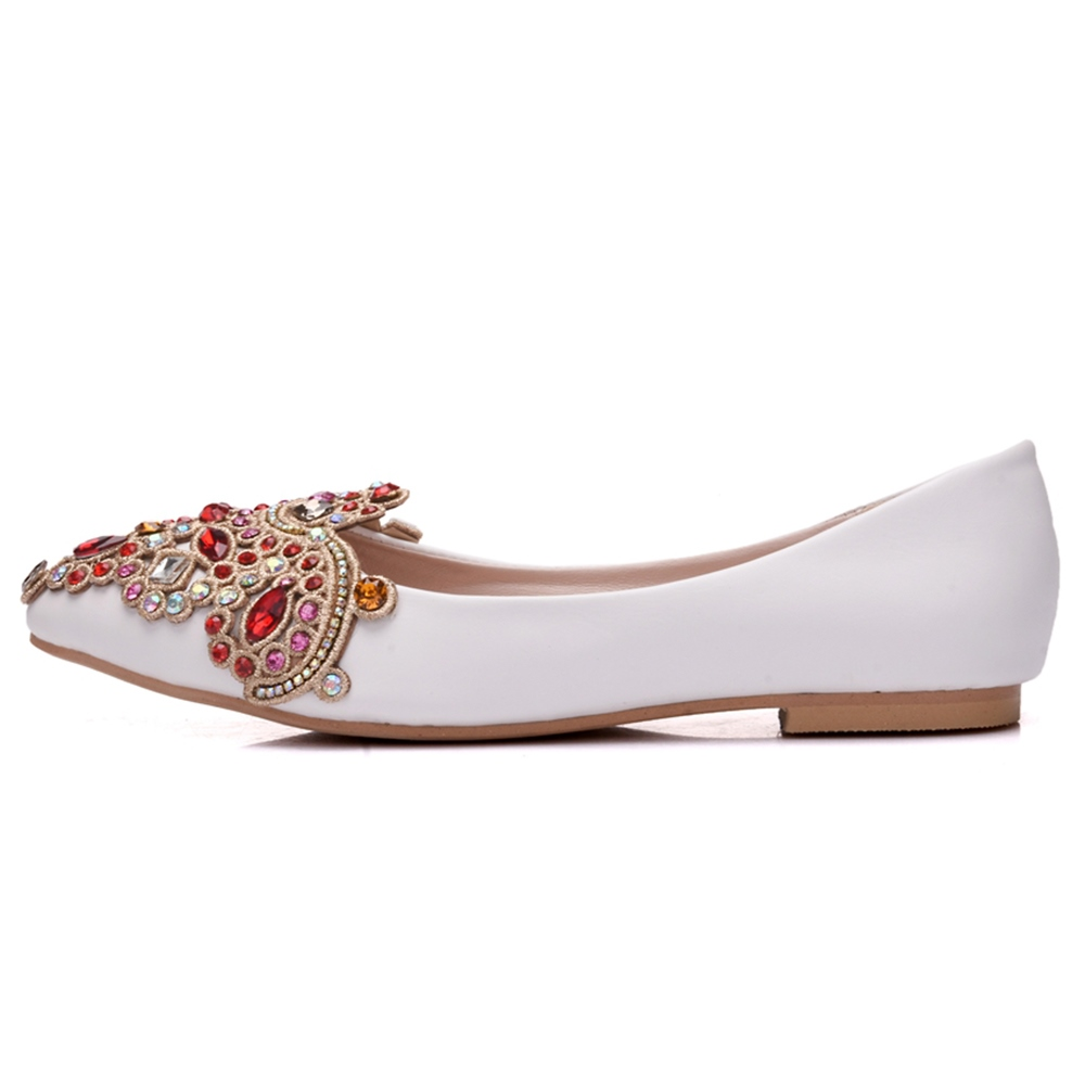 Multicolor Rhinestone Flats Wedding Shoes for Bride
