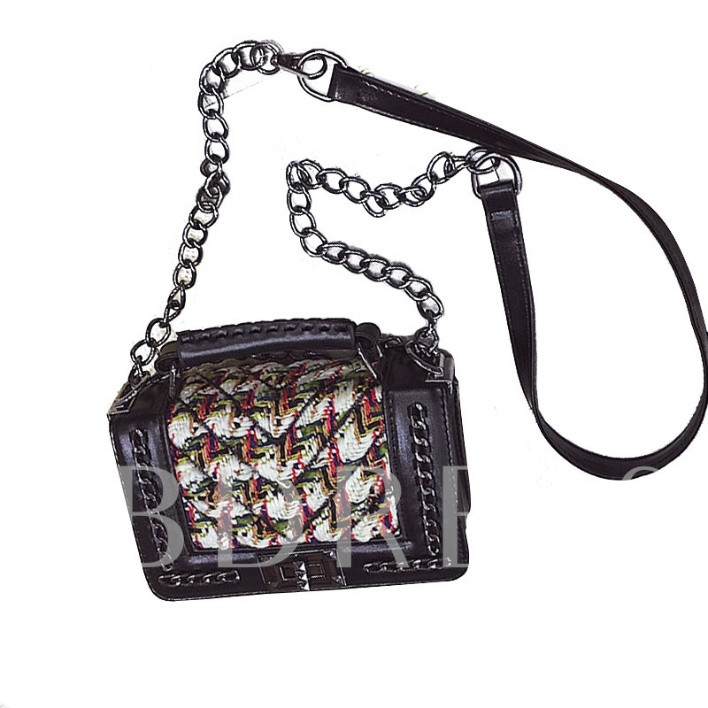Trendy Plaid Patchwork Chain Cross Body Bag