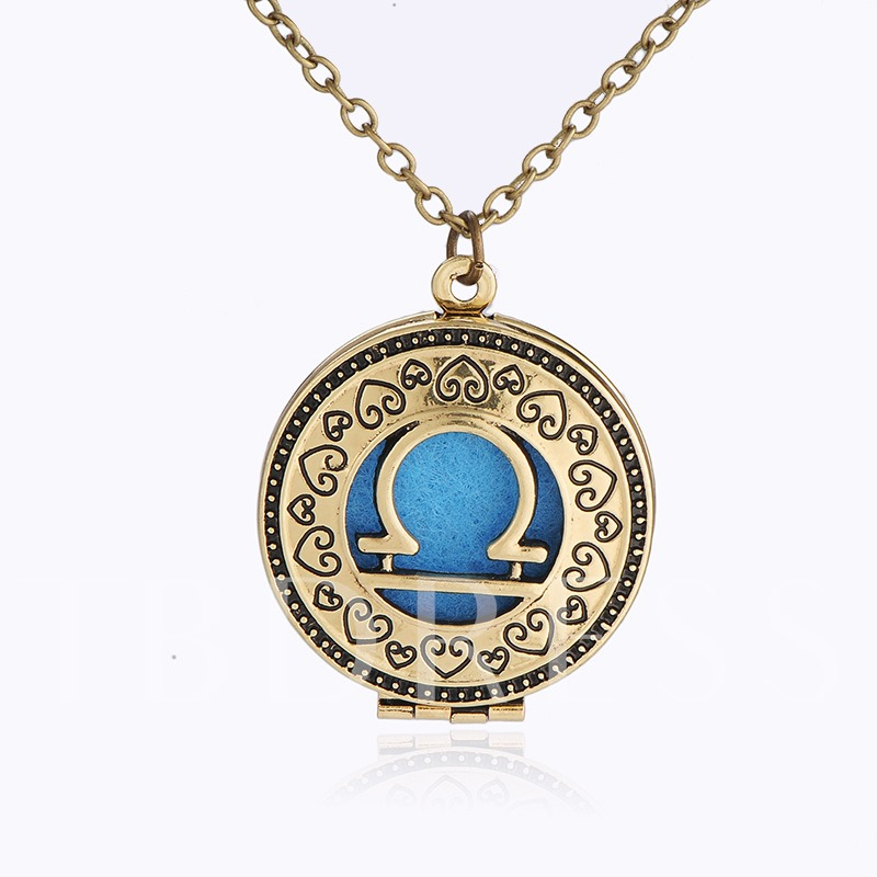 Libra Locket Essential Oil Diffuser Hollow Out Necklace