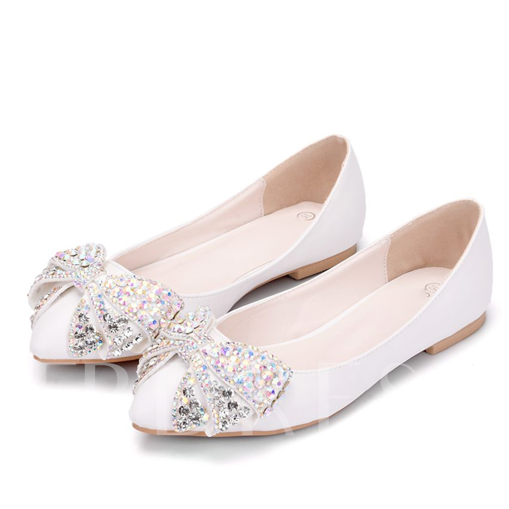 Bow with Rhinestone Flats Block Heel Wedding Shoes
