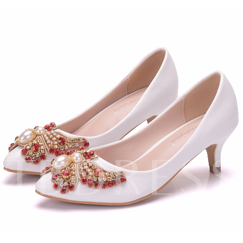 Butterfly Pattern Rhinestone White High heel for Wedding