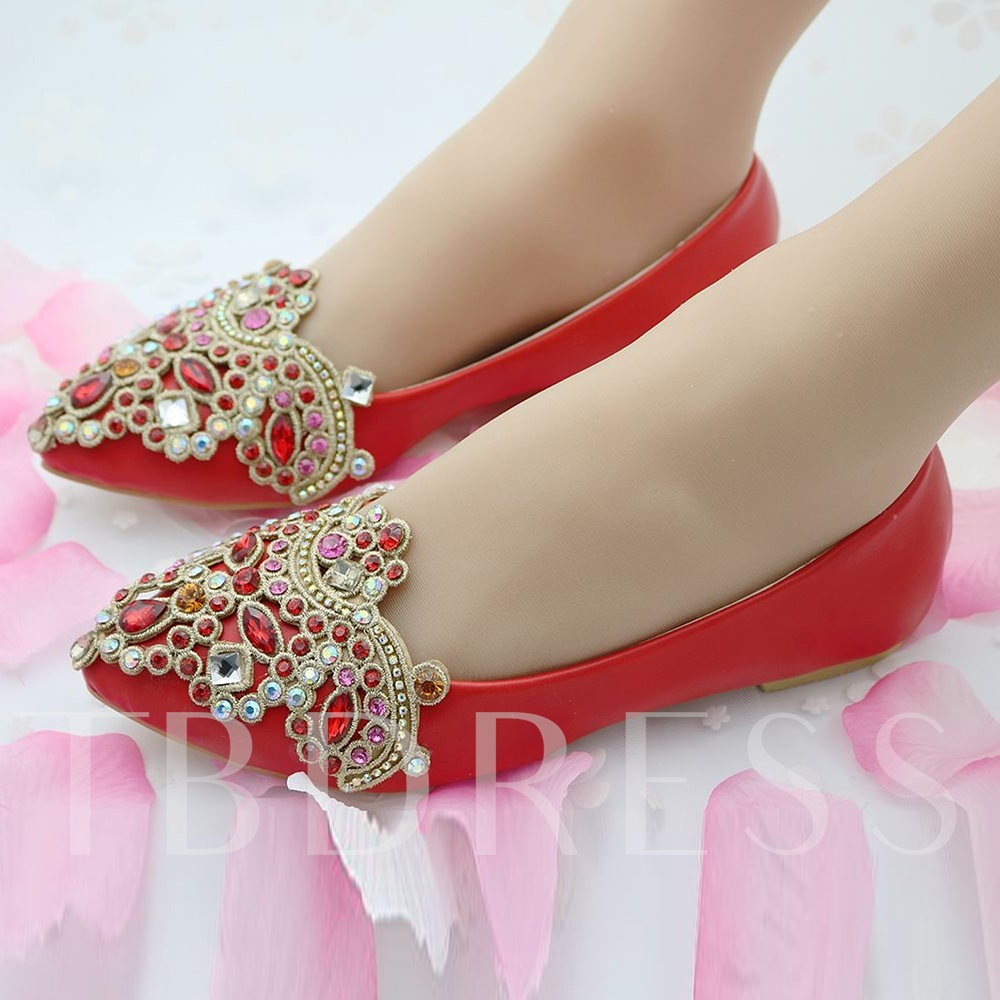 Multicolor Rhinestone Flats Wedding Shoes For Bride Sold Out