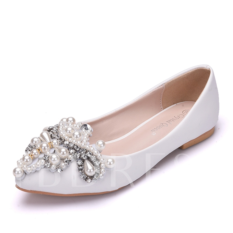 Pearl Rhinestone Flat With Women's Wedding Shoes