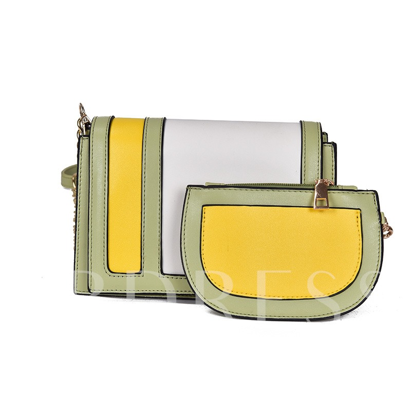 Trendy Color Block Women Bag Set (Two Bags Set)
