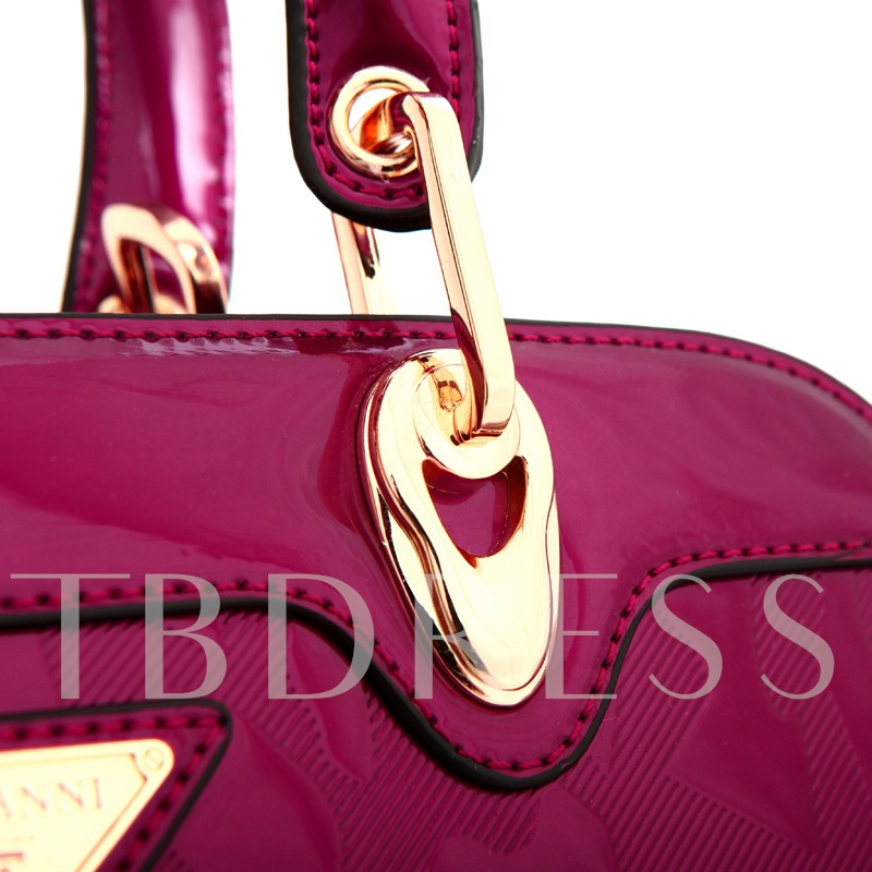 Glossy Solid Color PU Women Tote