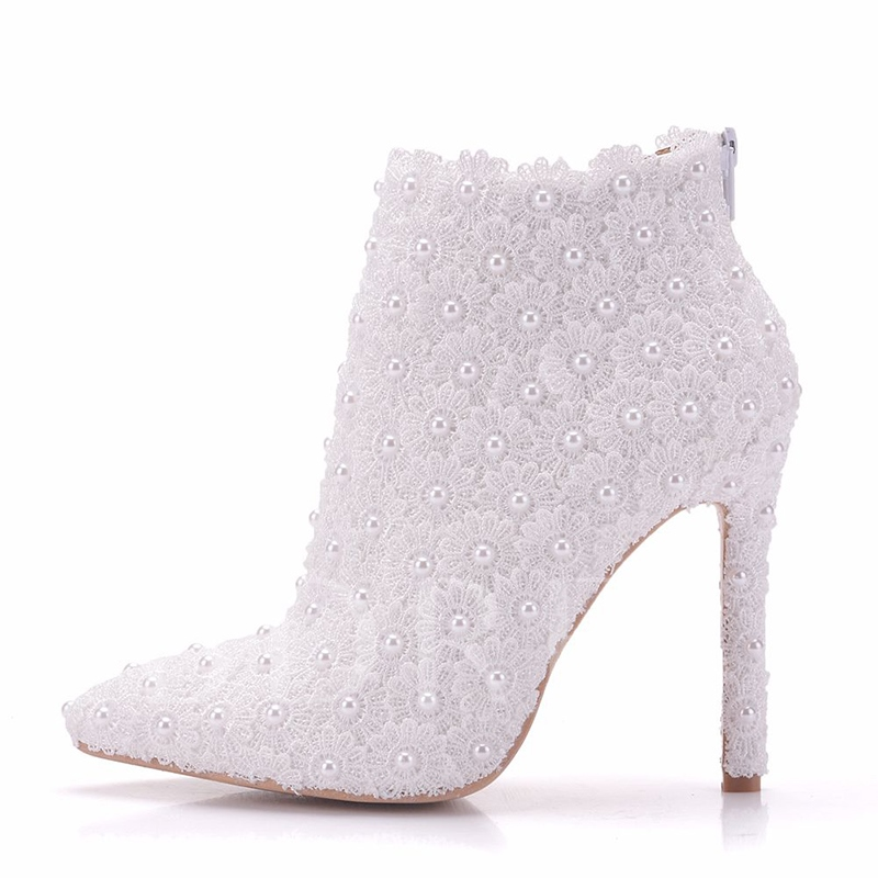 Pointed Toe Pearl Lace Wedding Shoe High Heels Boots, Spring,Fall,Winter, 13095542
