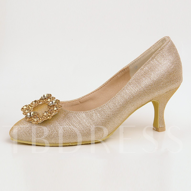 Buy Silk Fabric Rhinestone Golden High Heel for Wedding Shoes, Spring,Summer,Fall, 13095586 for $66.99 in TBDress store