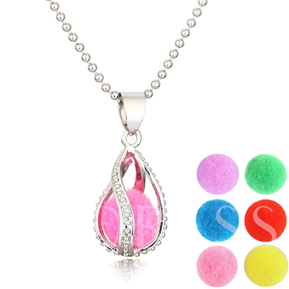 Cotton Ball Water Drop Essential Oil Diffuser Necklace