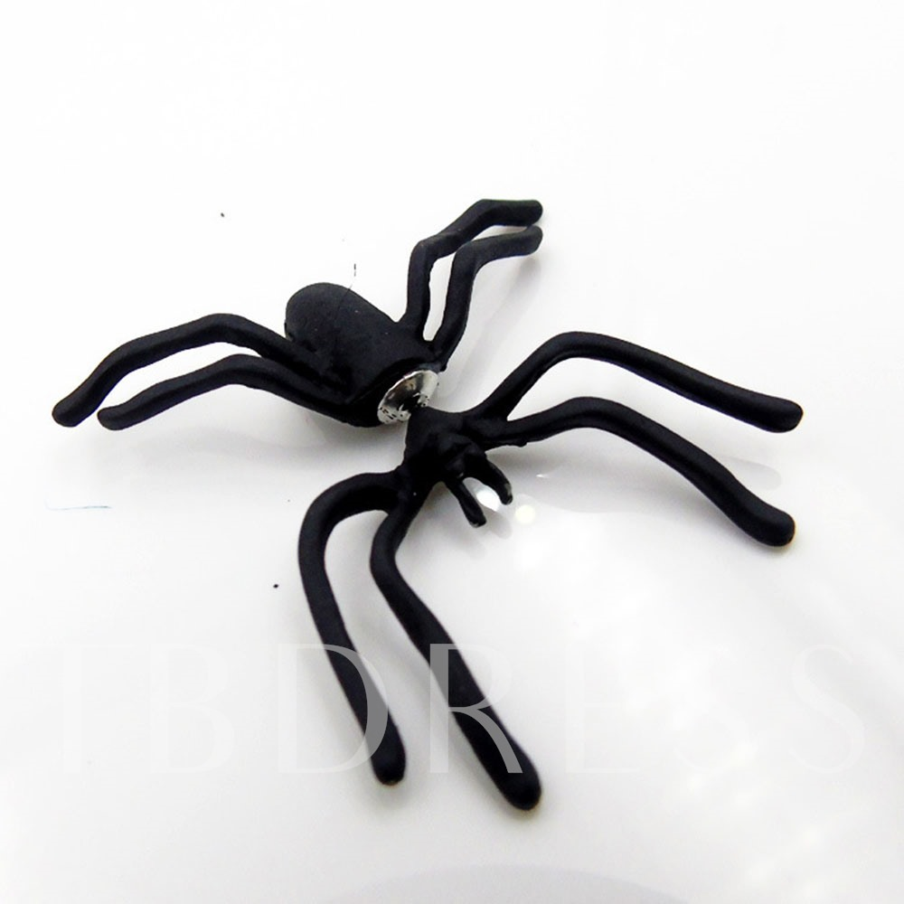 Alloy Black Coating Punk Spider Earrings
