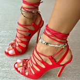 Lace Up Ankle Strap Red Sandals for Women