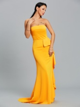 Strapless Falbala Bodycon Women's Maxi Dress