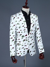 Notched Collar Rose Print One Button Slim Men's Blazer