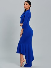 Blue 3/4 Sleeve Asym Women's Maxi Dress