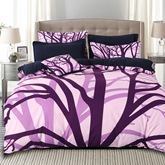 Purple Withered Tree Branches 4-Piece Cotton Bedding Sets/Duvet Cover