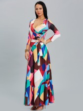 Color Block Lace up Women's Maxi Dress