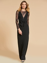 Sheath Long Sleeves Scoop Lace Evening Dress