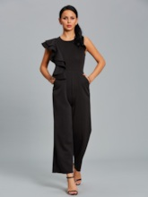 Slim Asymmetric Falbala Patchwork Women's Jumpsuits