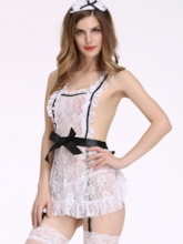 Lace Sexy Lingerie See-Through Maid Suit Cosplay Uniform Temptation