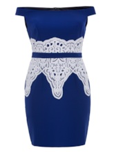 Plus Size Off Shoulder Appliques Women's Bodycon Dress