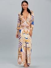 Deep V Neck Long Sleeve Women's Maxi Dress