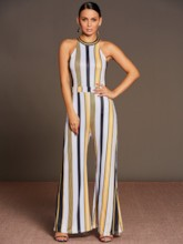 Stripe Lace-Up Wide Legs Women's Jumpsuit